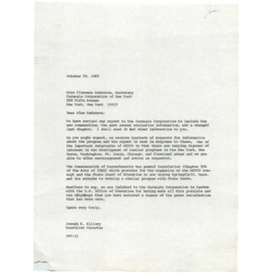 Letter, Florence Anderson, October 20, 1967.