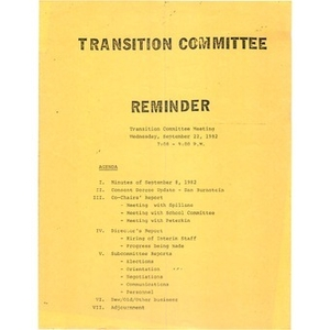Transition committee reminder.