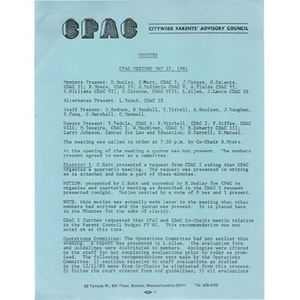 Citywide Parents' Advisory Council minutes, May 27, 1981.
