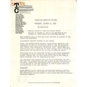 Transition committee meeting minutes October 13, 1982.