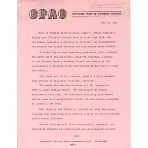 Citywide Parents' Advisory Council press statement, May 12, 1981.