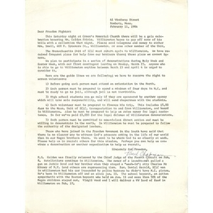 Letter, freedom fighters, February 11, 1964.