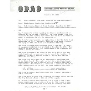 Memo, U.S. Federal district court hearing - December 29, 1980.