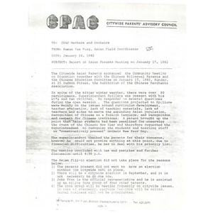Letter, report on Asian parents' meeting on January 17, 1982.