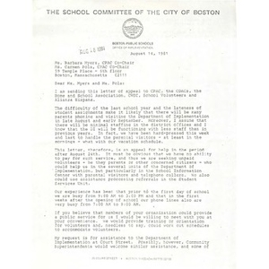 Letter, Carmen Pola and Barbara Meyers, August 14, 1981.