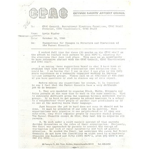 Letter, suggestions for changes in structure and operations of the parent councils.
