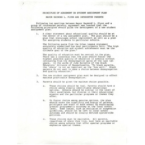 Principles of agreement on student assignment plan.