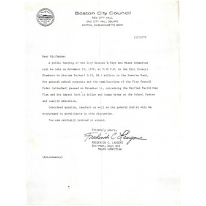 Letter, City Council meeting concerning the United Facilities Plan.