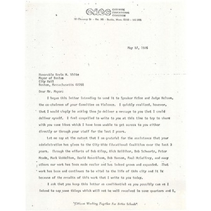 Letter, Mayor Kevin White, May 17, 1976.