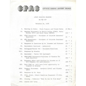 Joint CPAC/BTU hearing on the UFP, November 26, 1979.