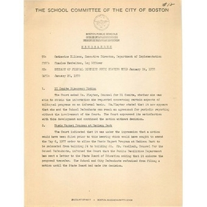 Memo, summary of Federal District Court hearing held January 24, 1978.