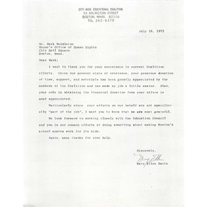 Letter, Mayor's Office of Human Rights, July 18, 1973.