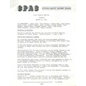 CPAC council meeting minutes, March 24, 1982.
