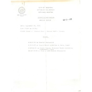 Agenda and meeting minutes, Committee for Boston, August 26, 1976.