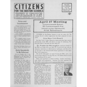 Citizens for the Boston schools bulletin April, 1966.
