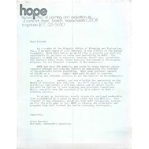 Membership invitation letter to the Hispanic Office of Planning and Evaluation (HOPE).