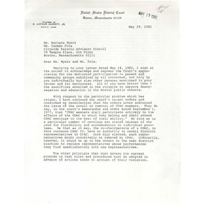 Letter, Barbara Meyers and Carmen Pola, May 19, 1982.