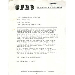 Letter, work session - May 15, 1982.