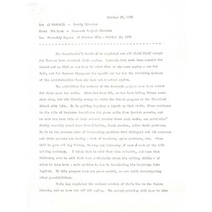 Bi-weekly report of October 18 - October 30, 1976.