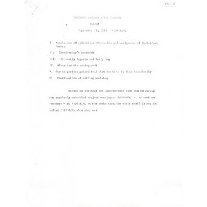 Research project staff meeting agenda, September 21, 1976.