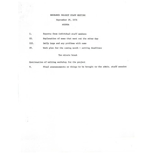 Research project staff meeting agenda, September 28, 1976.