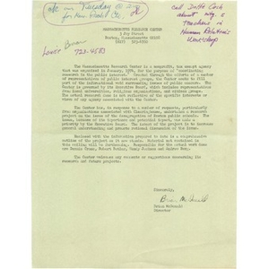 Letter, Massachusetts Research Center introduction.