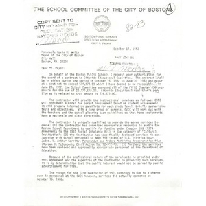 Letter, Mayor Kevin White, October 15, 1982.