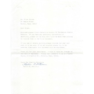 Letter, a selective history of the Boston Public Schools.