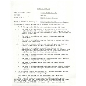Proposal abstracts for Boston Public Schools.