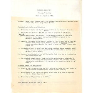 Personnel committee minutes of meeting held on August 9, 1982.