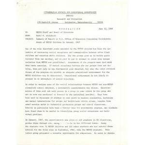 Memo, summary of report to U.S. Office of Education concerning sociometric study of METCO children in January, 1967.