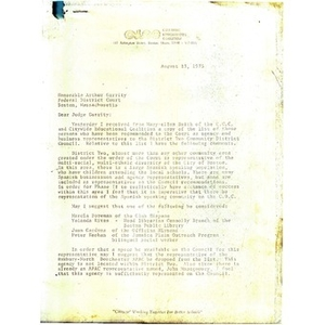 Letter from Kathleen P. Leon to Judge W. Arthur Garrity, August 13,1975.