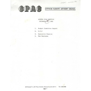 Citywide Parents' Advisory Council agenda and minutes, December 10, 1980.