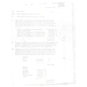 Memo, implementation of Chapter 506, acts of 1966.