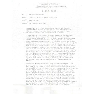 Letter, '72 - '73 METCO proposals.