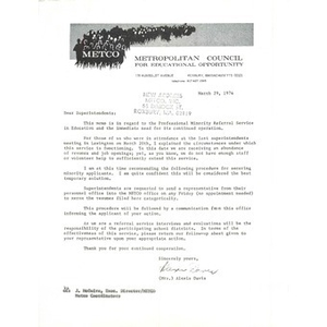 Letter, superintendents, March 29, 1974.