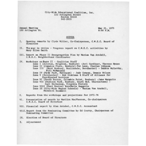 Citywide Educational Coalition, annual meeting minutes, May 21, 1975.