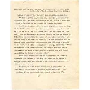 """Press release, message of support for """"Stay-Out"""" from Dr. Martin Luther King."""