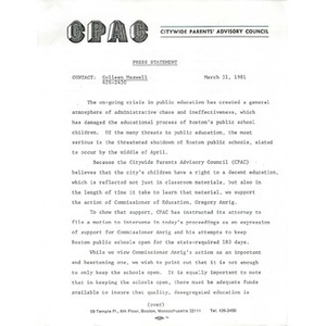 Citywide Parents' Advisory Council press statement, March 31, 1981.