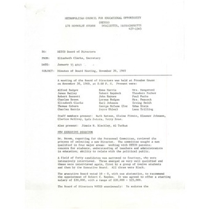 Memo, minutes of board meeting, November 20, 1969.