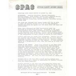 CPAC/CDAC joint staff meeting of August 16, 1981.