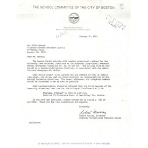 Letter, Citywide Parents' Advisory Council, January 30, 1981.