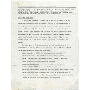 Meeting minutes, METCO executive board, March 12, 1969.