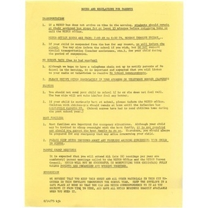 Notes and regulations for parents.