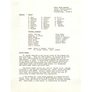 METCO joint meeting Board - Parent Council, November 20, 1972.