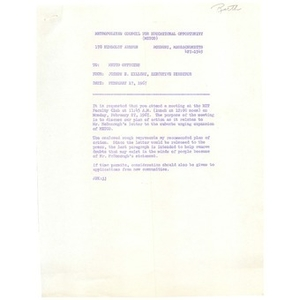 Letter, METCO officers, February 17, 1967.