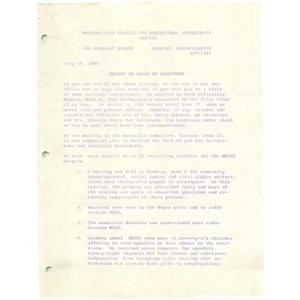 Report to the Board of Directors, July 14, 1966.