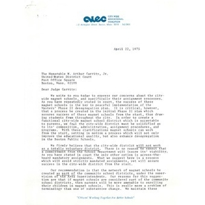 Draft Letter from Mary Ellen Smith to Judge W. Arthur Garrity, April 22, 1975.