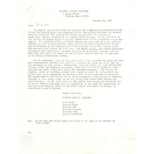 Letter, friends of Roxbury library committee, October 16, 1968.