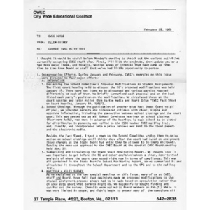Memo from Ellen Guiney to CWEC Board, February 28, 1985.